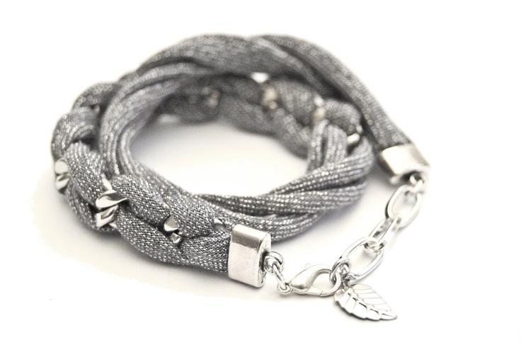 wrap twice bracelet sparkling grey jersey and chunky by gudbling, €24,00