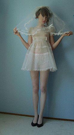 90s babydoll + white veil