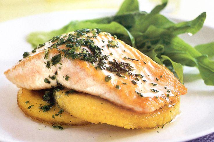 Salmon Fillets With Polenta Fritters Recipe - Taste.com.au
