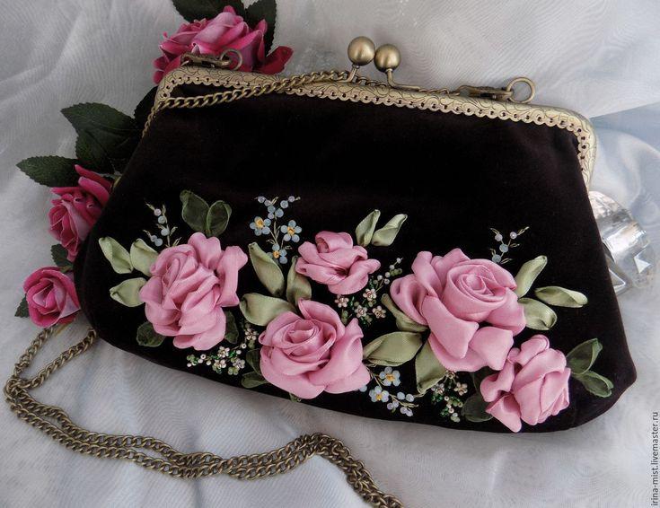 """Купить Бархатная сумочка-клатч """"Грейси"""" - шоколадный цвет, цветочный рисунок, сумочка вечерняя"""