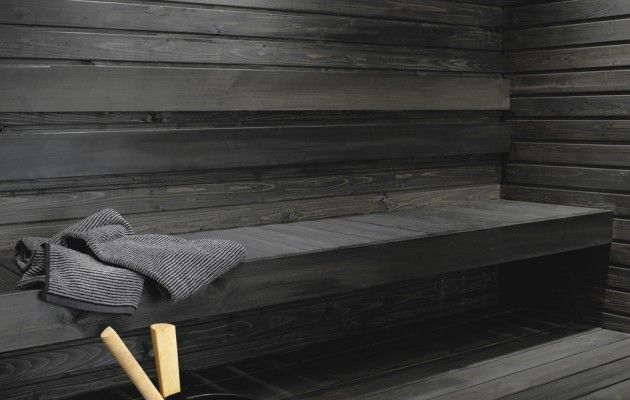 Untreated sauna benches and panel walls can be blackened using the Supi Sauna Wax by Tikkurila. This water-soluble solution with natural wax is colourless but it can be tinted black.