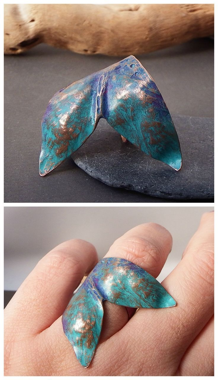 The Great Fin ring by Alice Savage. Handmade copper ring with colorful patina, unique statement jewelry, mermaid vibes, fun style, magic, bohemian, wild, hippie, festival