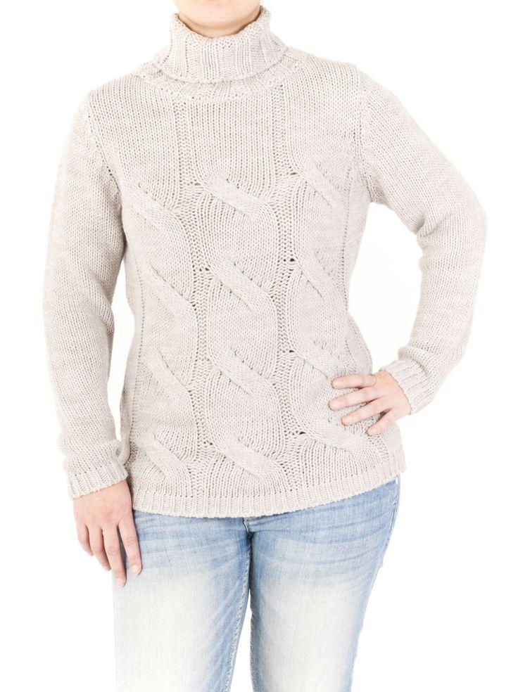 Elegante jersey de punto trenzado con cuello cisne, color liso de mujer. Ideal para el invierno, calentito y combina con tejanos. 8 colores para que elijas.