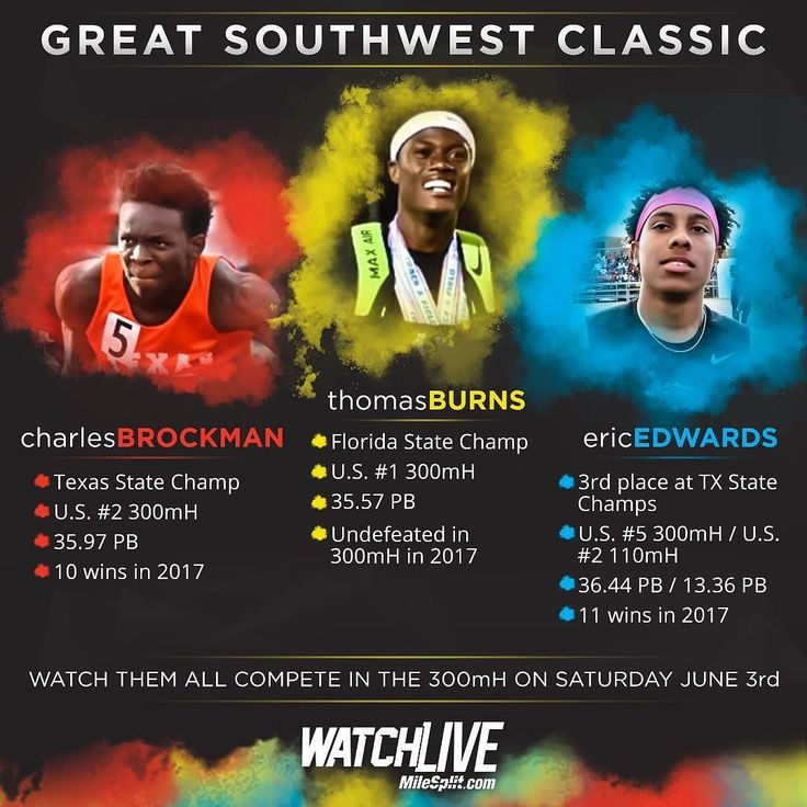 Can't miss race in the 300mH on Saturday LIVE at the Great Southwest Classic on MileSplit.com! (LINK IN BIO) . . . . #milesplit #speed #fast #300mh #ericedwards #thomasburns #charlesbrockman #running #live #greatsouthwestclassic  #florida #texas