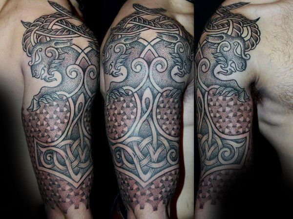 Mjolnir Dotwork Guys Pattern Half Sleeve Norse Tattoos Mjolnir Tattoo Viking Tattoos Norse Tattoo