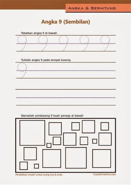 belajar angka paud (anak balita/TK), menulis 1-10, angka 9