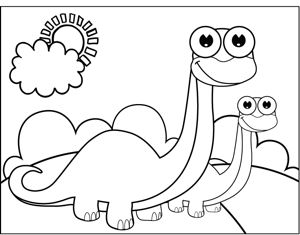 a brontosaurus and his baby stand and smile in this printable coloring page for kids who - Cute Baby Dinosaur Coloring Pages