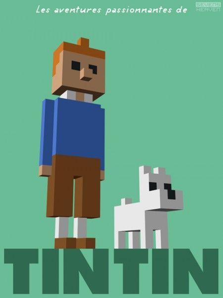 3d pixels Tintin