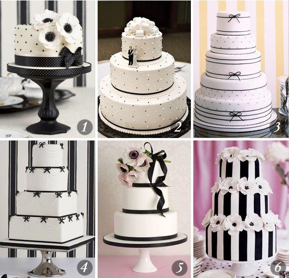 6 bolos de casamento em preto-e-branco - Constance Zahn | Casamentos