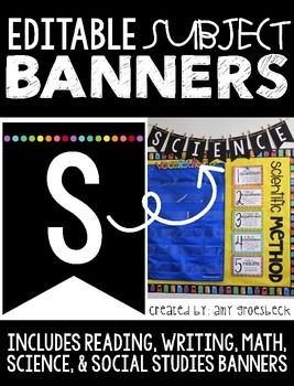 Accent your classroom focus wall with this modern banner set. This pack includes five large premade subject banners in black, accented with bright colored dots for a pop of color. An editable template is also included in two different sizes.Each PREMADE banner measures:Large approx. 6.5 x 9 inchesEach EDITABLE banner measures:Small approx. 4.6 inches x 6 inchesLarge approx. 6.5 inches x 9 inchesTo customize your banner, simply insert a text box and type!
