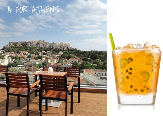A for Athens  The best roof bar in town! Enjoy your cocktail overlooking Parthenon  http://www.cycladia.com/blog/tourism-insight/best-bars-athens