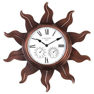 Sterling & Noble Metal Sun Outdoor Wall Clock with Copper Finish - BedBathandBeyond.com