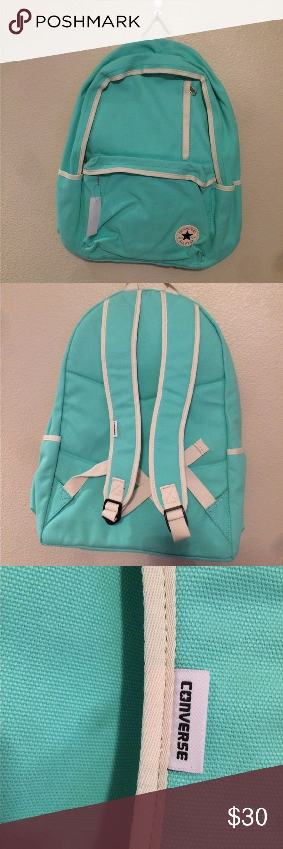 Converse Backpack Teal converse backpack with three pockets. One large pocket with two front pockets. Converse Bags Backpacks