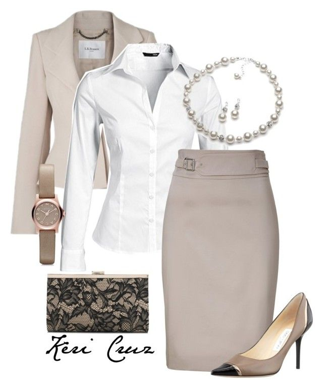 """""""Stylish office outfit"""" by keri-cruz ❤ liked on Polyvore featuring L.K.Bennett, H&M, HUGO, Jimmy Choo, Accessorize, Marc by Marc Jacobs, women's clothing, women, female and woman"""