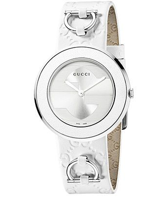 Gucci Watch Strap and Bezel, Women's U-Play White Leather Strap 35mm YFA50005 - Women's Watches - Jewelry & Watches - Macy's