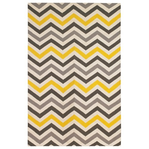 dwell yellow and gray chevron rug for Living Room...might be fun to tie into wall color, but may not have enough blue/red?