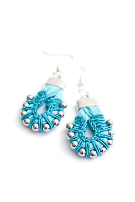 statement chandeliers, tribal earing, turquoise and silver crochet earrings via Etsy
