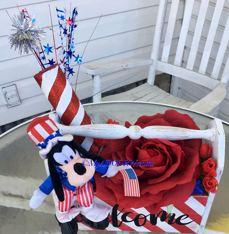 Welcome Patriotic Centerpiece, Patriotic Tool Caddy Decor, Disney 4th July Centerpiece, Fireworks Table Decor, Memorial Day Goofy Decor, xl by MyADOORableWreaths on Etsy https://www.etsy.com/listing/521765377/welcome-patriotic-centerpiece-patriotic