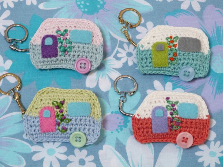 Handmade Crochet Caravan Keyrings  by FloAndDotShop on Etsy