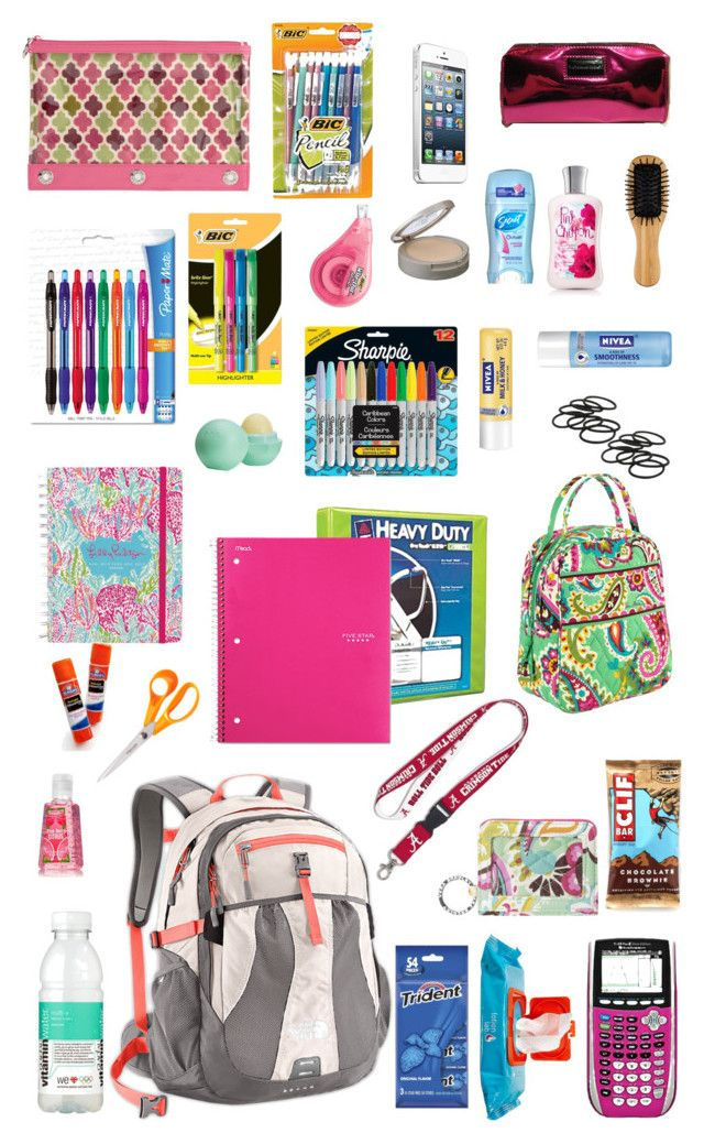 """""""Backpack essentials for back to school"""" by cb14 ❤ liked on Polyvore featuring Victoria's Secret, Neutrogena, John Lewis, Nivea, Vera Bradley, Paper Mate, Wite, Sharpie, Eos and Lilly Pulitzer"""