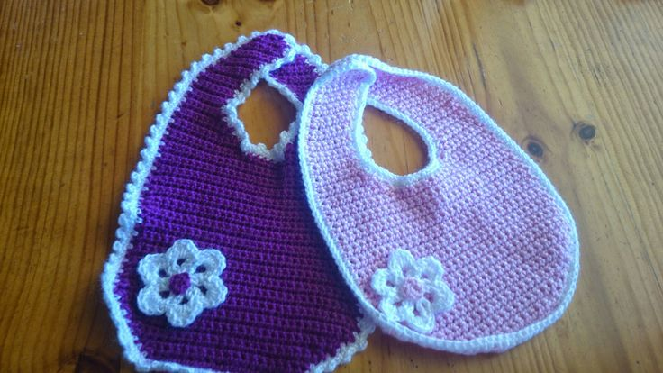 Crochet baby bibs, machine washable and quick drying