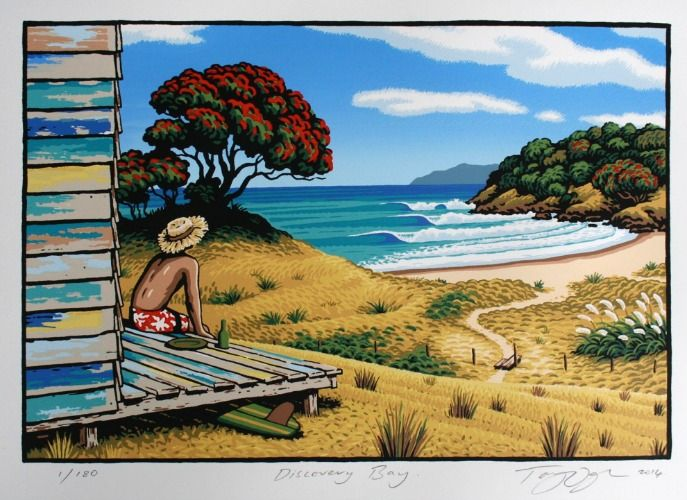 Check out Discovery Bay Limited Edition Print by Tony Ogle at New Zealand Fine Prints
