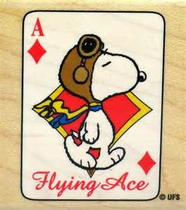 Snoopy Ace of Diamonds RUBBER STAMP