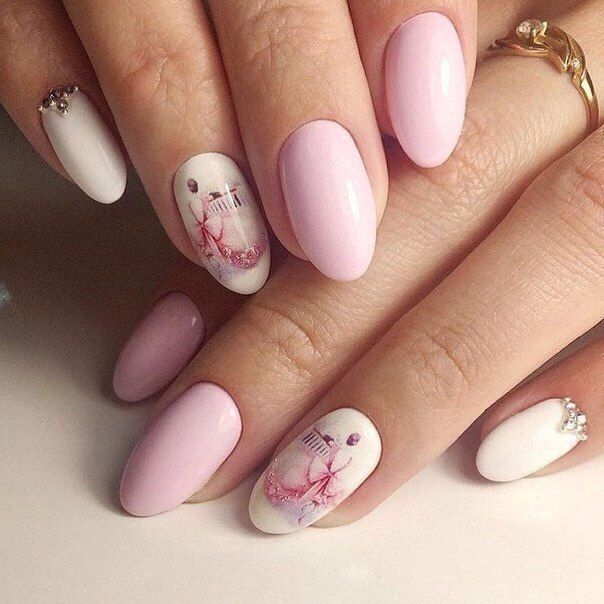 Accurate nails, Drawings on nails, Nails with stickers, Original nails, Oval nails, Pastel nail designs, Pastel nails, ring finger nails