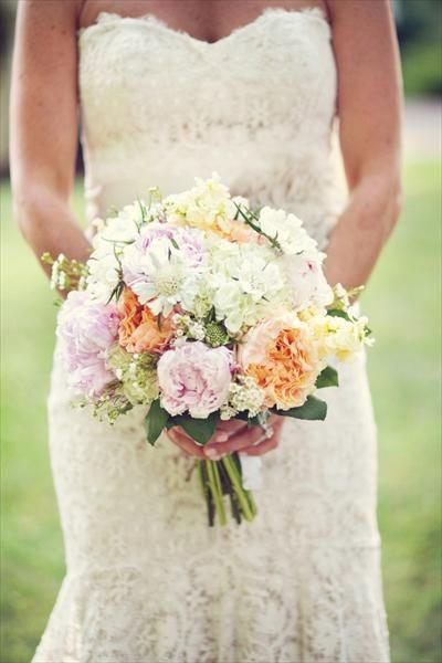 vintage lace and pastel floral bouquet
