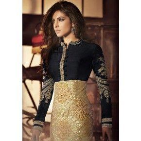 Priyanka Chopra Black & Golden Net & Silk Straight Salwar Kameez with Duppatta-5033C-1048-24571