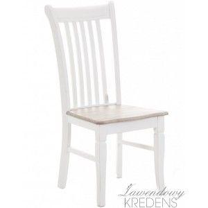 Krzesła w stylu prowansalskim Palida Aluro. Krzesła mahą brązowe siedziska i przecierane nogi. Więcej mebli z tej serii na http://lawendowykredens.pl/pl/116-meble-aluro