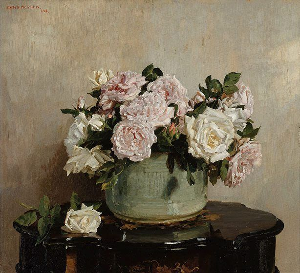 Hans Heysen A bowl of roses 1924