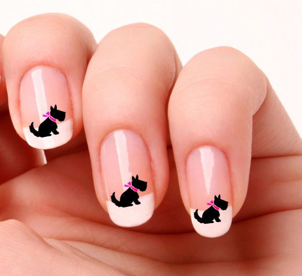 20 Nail Art Decals Transfers Stickers #694 - Scottish Terrier Scottie Scotty Dog