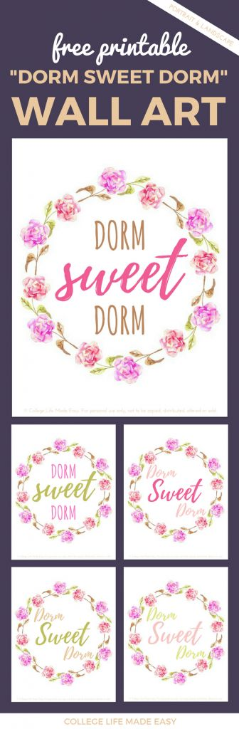Cute free printable decor for a college students's dorm room, nice decoration ideas for girls.