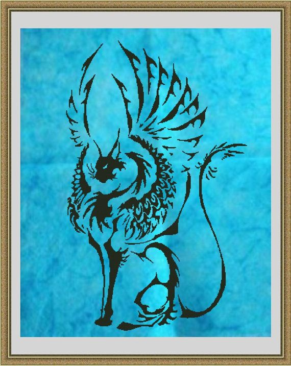 I'd want this more angelic looking. Tribal Winged Cat Lenalis counted cross stitch PDF by Austitch, $15.00