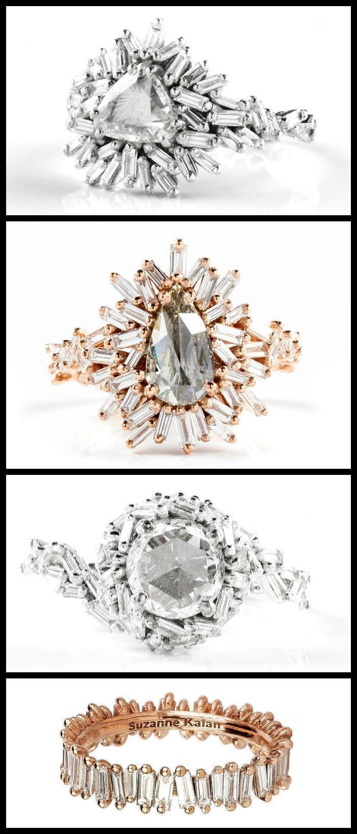 The beautiful baguette diamond rings of the Suzanne Kalan Devoted collection - both engagement rings and eternity bands.