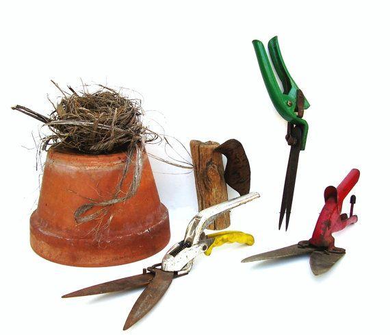 Antique Garden Tool Pruning Shears Set of 3 Vintage Gardening
