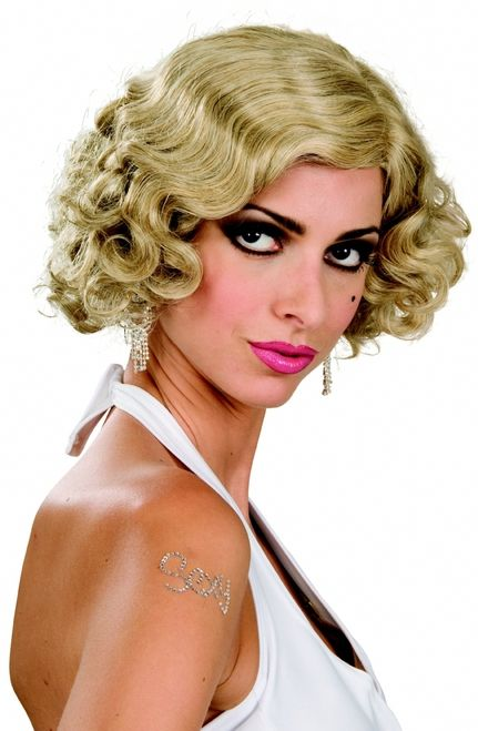 Flapper Monroe Halloween Wig 3 different colours! - This is a hot addition to your 1920s costume. It is a short wig that curls on the bottom and completes that vintage starlet look. Comes in black, brown or blond. Its perfect to do the Charleston in. #20s #marilynmonroe #yyc #costume #wig