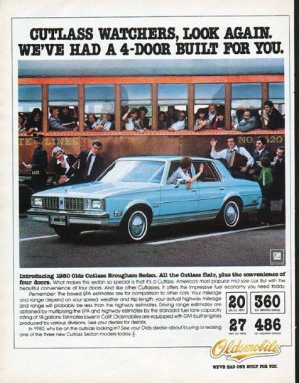 """Description: 1980 OLDSMOBILE vintage magazine advertisement """"Cutlass watchers"""" -- Cutlass watchers, look again. We've had a 4-door built for you. Introducing 1980 Olds Cutlass Brougham Sedan. All the Cutlass flair, plus the convenience of four doors. -- Size: The dimensions of the full-page advertisement are approximately 10.25 inches x 13 inches (26 cm x 33 cm). Condition: This original vintage full-page advertisement is in Excellent Condition unless otherwise noted."""