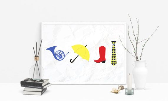 *** This listing is for a personalised A4 physical print delivered by post ***  How I Met Your Mother - Blue French Horn, Yellow Umbrella, Red Cowboy Boots, Ducky Tie Print.  It can be personalised with name, date and other info. (Please, specify personalisation details in a message when placing the order).  The print comes unmounted. If you would prefer a mounted frame, please contact us and wed be happy to help you with this.  Size: A4 - 297 x 210 mm - 11.7 x 8.3 in  *** Also available as…