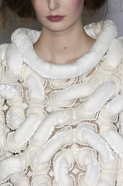 Sculptural Textures - lace and padded texture; textiles surface detail; close up fashion // Moon Young Hee