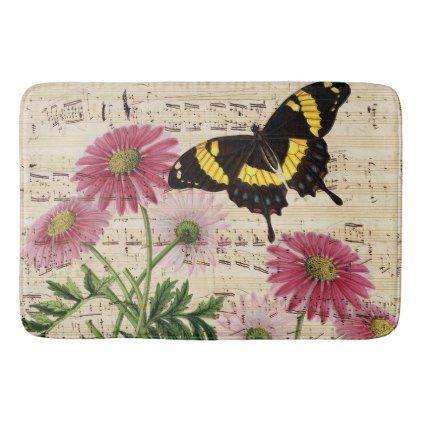 #Daisy Butterfly Music Bathroom Mat - #Bathroom #Accessories #home #living