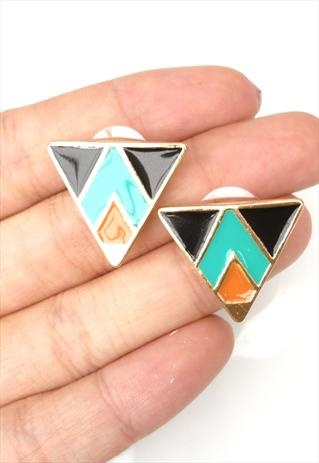 Tribal Triangle Earrings - Orange And Black: Tribal Triangles, Triangle Earrings, Earrings Tabs Boutiques, Triangles Earrings, Fashion Ideas, Style Smart, Le Placard