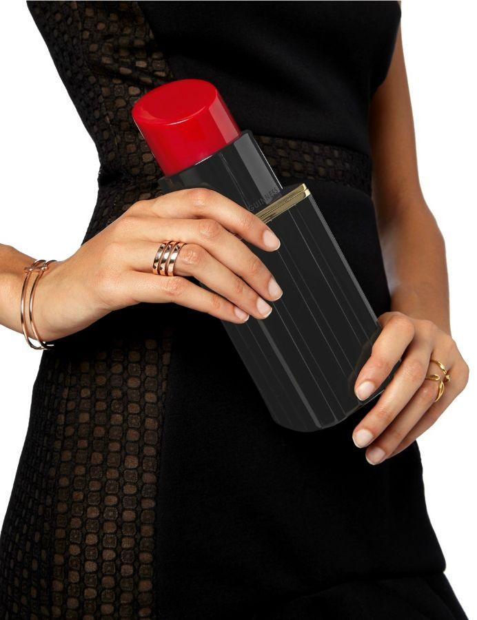 Kırmızı Ruj Şekilli Zincir Askılı Siyah Clutch Bayan Çantası