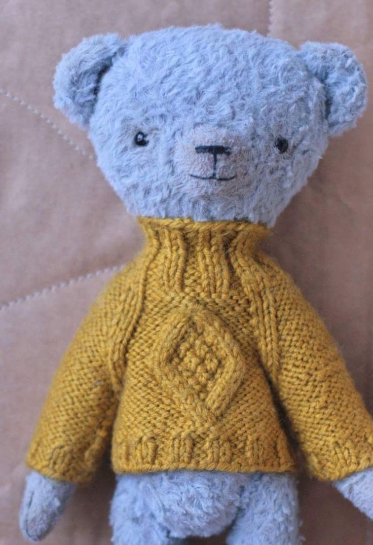 My handmade blue teddy bear in yellow sweater 2016 #teddybear #teddy #тедди #blueteddy