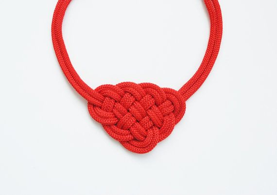 Red Knotted Necklace Rope Jewelry Nautical Style by elfinadesign