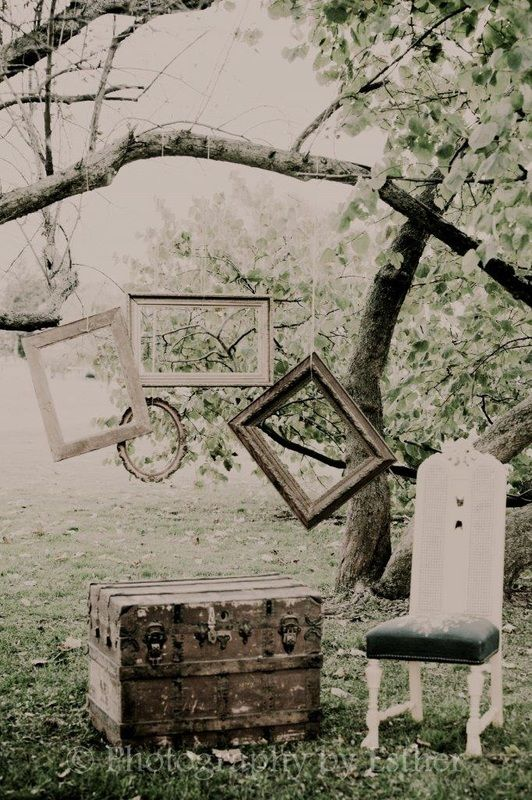 Vintage photo props! Frames. chairs. trunks.