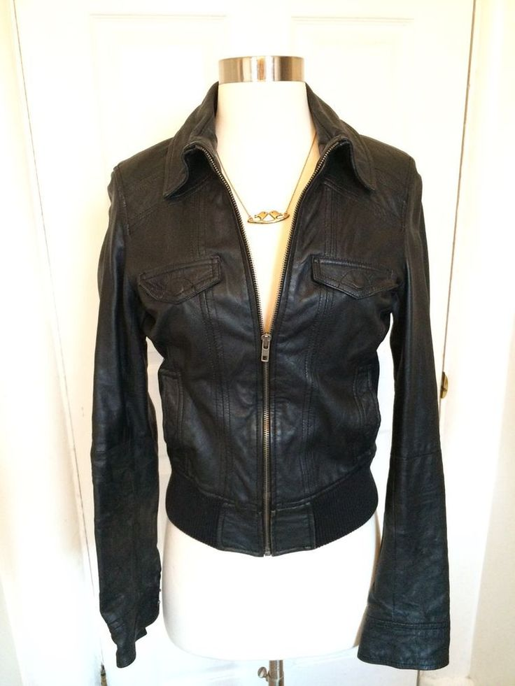Zara TRF Collection Fitted Leather Jacket Size Small #ZARA #Motorcycle