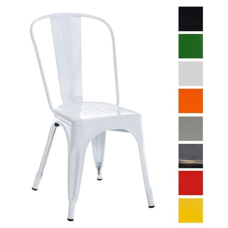 CLP Metall Stuhl stapelbar, Stapelstuhl BENEDIKT, Sitzhöhe 46 cm, klassich & robust weiß: Amazon.de: Küche & Haushalt