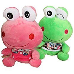 """2 Packs 8""""Smiley Fairy Tale Frog Prince Plush Toys Stuffed Animal Baby Pillow For Wedding Birthday Gift,Valentine's Day"""